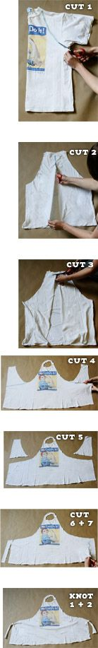 @Sarah Chintomby Stroup. Very cool idea to do with old big shirts, especially for cooking and crafting.