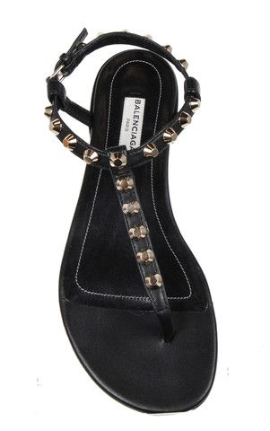 T-Bar Studded Flat Sandal GGH, Black