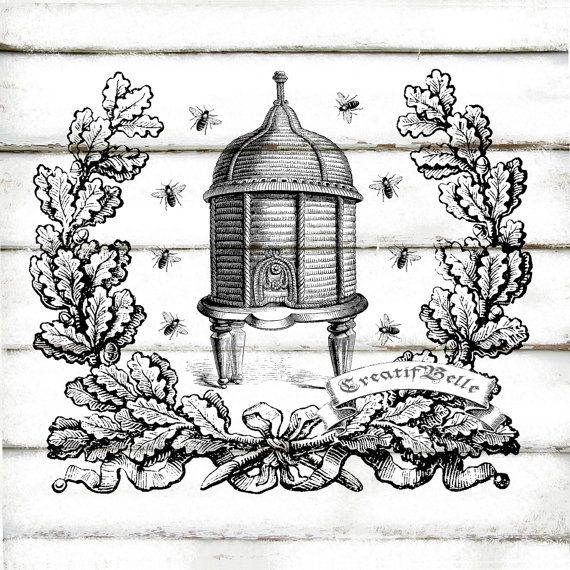 Vintage Wreath Beehive Large Black and White by CreatifBelle