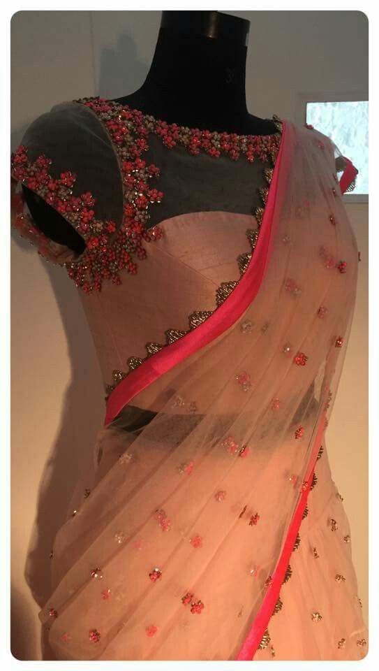 blush net saree with unique blouse