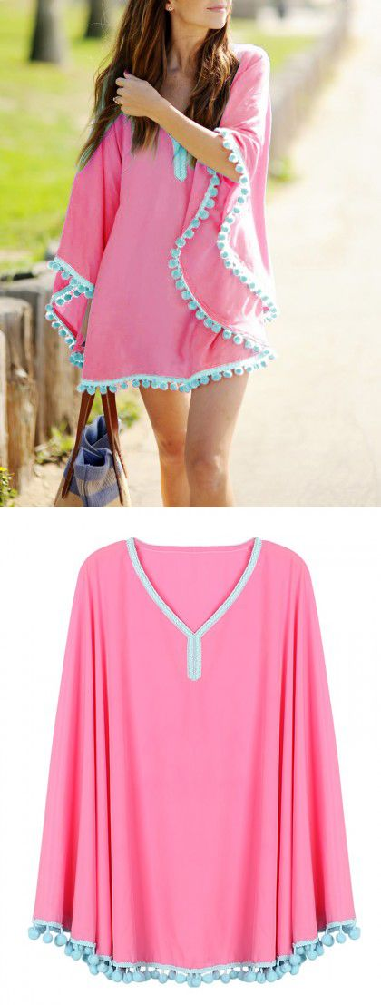 Hot Pink Oversize Pom Pom Chiffon Poncho Cover Up Dress