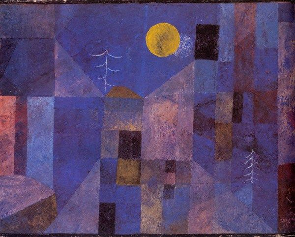 "Paul Klee - ""Moonshine"", inspires kindergarten ""shape town"" collage with 1 die cut circle for sun or moon"