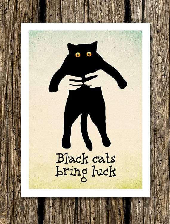 Black cats bring luck   75 x 11 Art Print. Funny by LemonPaper, $15.00