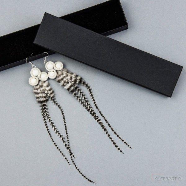 Kolczyki długie piórka ślub wesele panna młoda kolczyki ślubne - Kolczyki - Biżuteria artystyczna