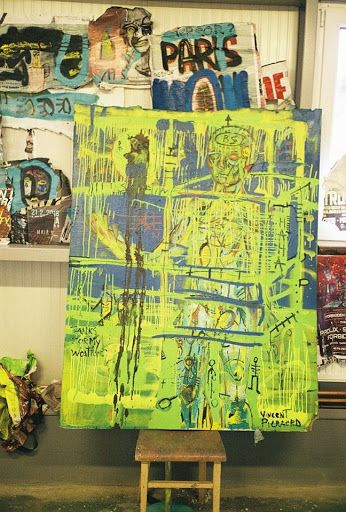 This painting is called: BS Haha  Vincent Pieraerd - Residency Program 2016 – Studio #BUBEC