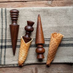 wooden waffle or sugar cone roller for homemade ice cream cones | kitchen tools