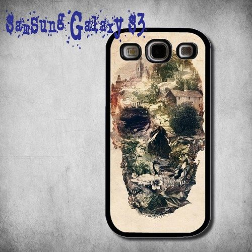 Skull Town Print On Hard Plastic Samsung Galaxy S3, Black Case