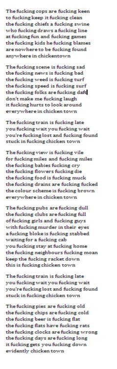 Evidently Chicken Town - John Cooper Clarke - TYPE WRITER