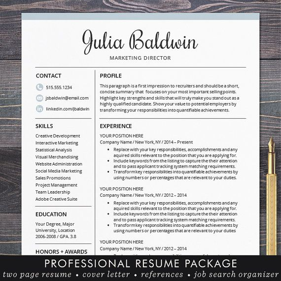professional resume cv template mac or pc for word creative modern blue free cover letter instant download the julia