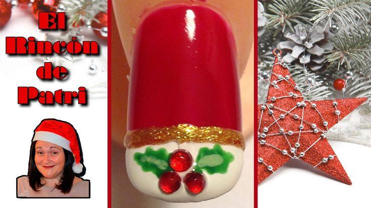 Diseño de uñas francesas de Navidad de El rincón de Patri Nail Art. Sigue todos nuestros diseños de decoración de uñas en http://www.rincondepatri.com Christmas French Nail Art with red stones
