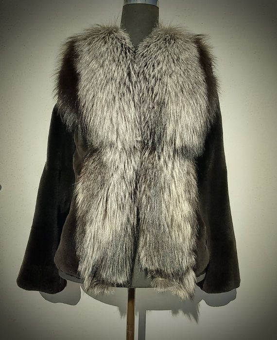 Fur Jacket/ Real fur/Mink fur with fox collar/ black by ReginaFurs