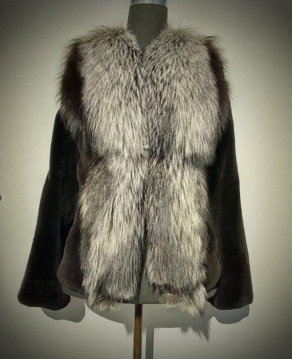 Fur Jacket/ Real fur/Mink fur with fox collar/ black by ReginaFurs