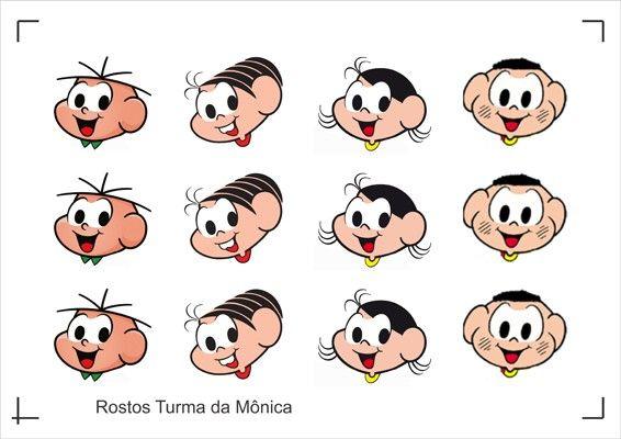 STUDIO 26 FESTAS -  Folha de Adesivo Rostos da Turma da Mônica em Papel Fotográfico