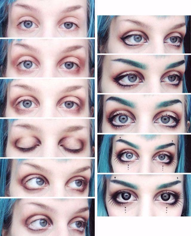 Doll-like dark Mori makeup. Making eyes look bigger.