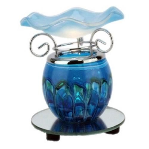 Blue Marbled Glass Electric Oil Warmer Burner Mirrored base Dimmer Switch  #Unbranded