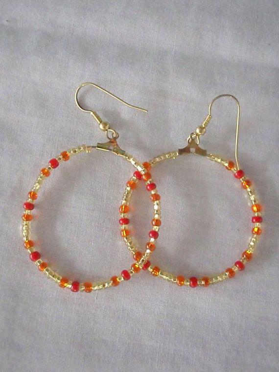 Warm coloured hoop earrings by RosemarysJewellery on Etsy