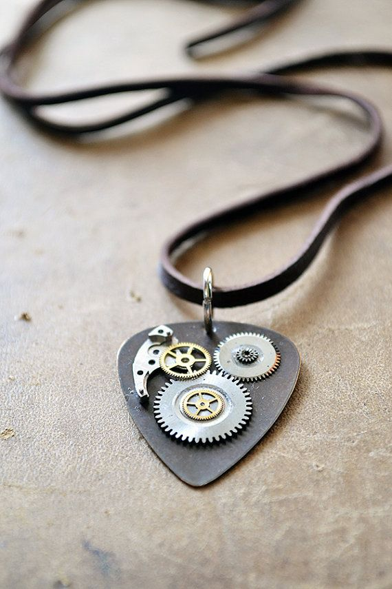 Guitar Pick Necklace OOAK Metal Guitar Pick by Keytiques.   Awesome steampunk aesthetic!