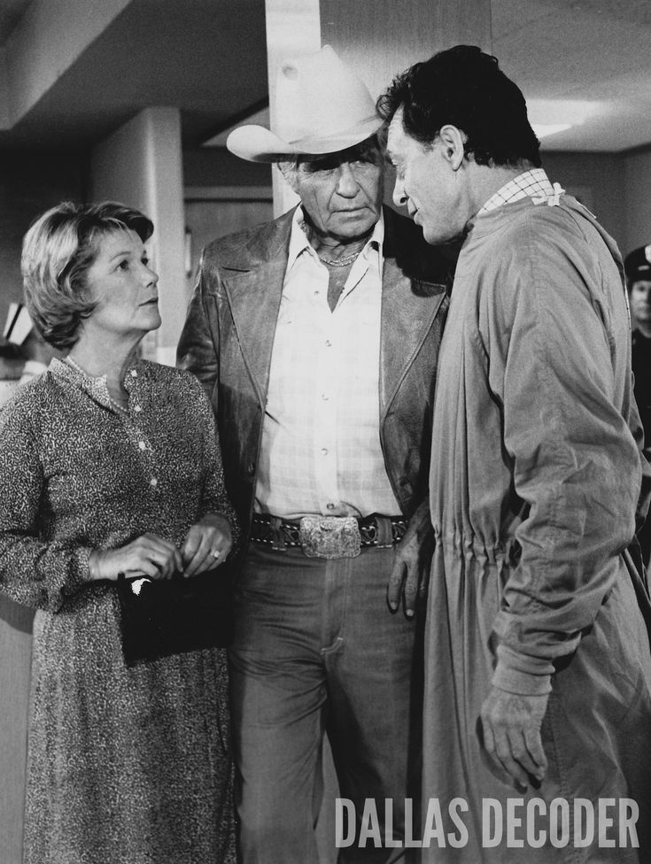 "Miss Ellie and Jock (Barbara Bel Geddes, Jim Davis) confer with Dr. Pearson (Peter Donat) about J.R.'s condition in this 1980 publicity shot from ""No More Mr. Nice Guy, Part 1,"" ""Dallas's"" fourth-season opener. Relive more memories at DallasDecoder.com."