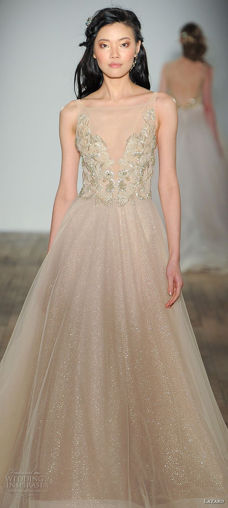 42 best champagne yellow gold wedding gowns images on for Champagne gold wedding dress