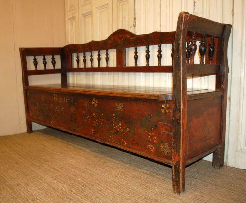 Antique Pine Box Settle In Original Decorative Paint Bench With Storage    294897   Sellingantiques.
