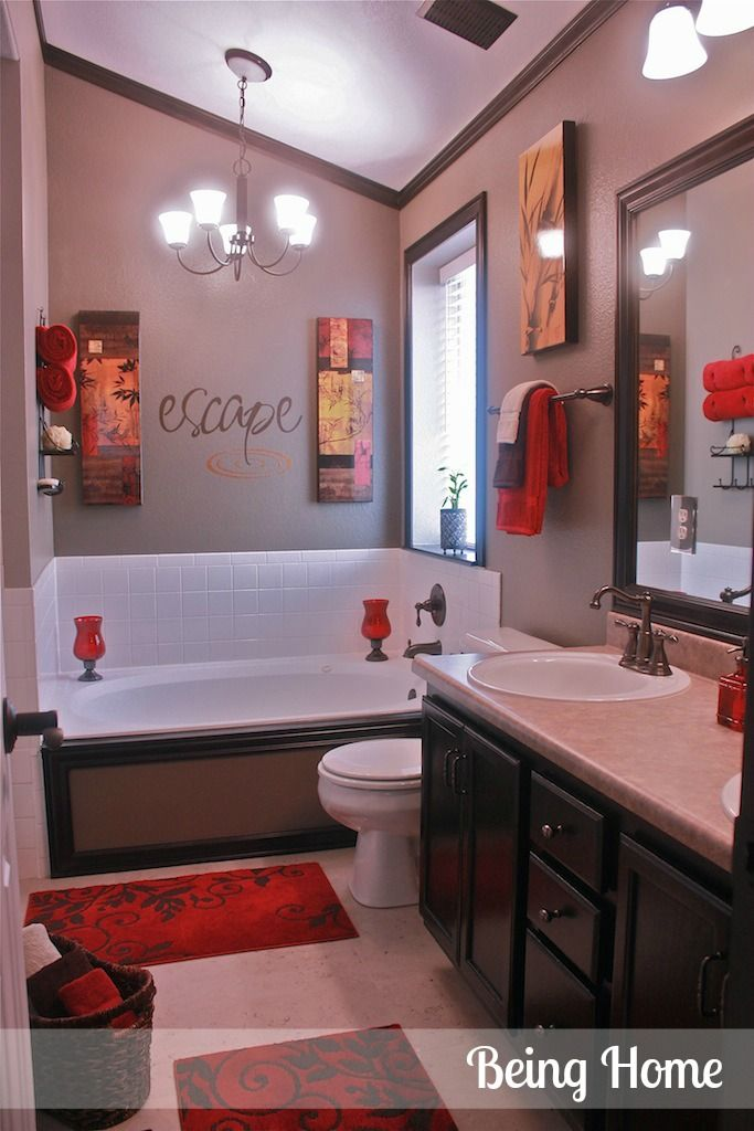 Genial Cheap Bathroom Update Idea  Stain Vanity, Frame Mirror, Change Out Faucets.  Frame The Outside Of The Tub And Add Red Accents. Dark Trim Around The  Ceiling ...