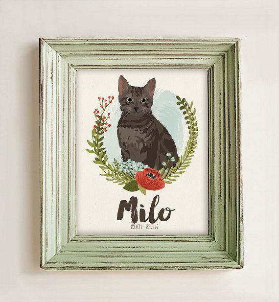 Cat Portrait •Custom Pet Memorial Gift •Pet Loss Gift • Custom Dog Illustration • Cat Portrait Illustration • Personalized Pet Drawing