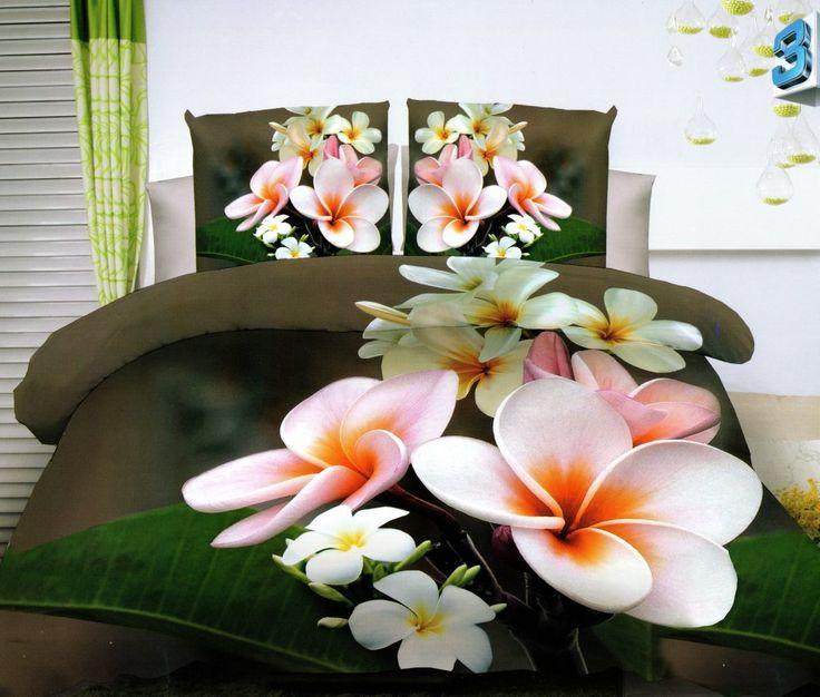 Hnedé posteľné obliečky 200x220 s kvetmi