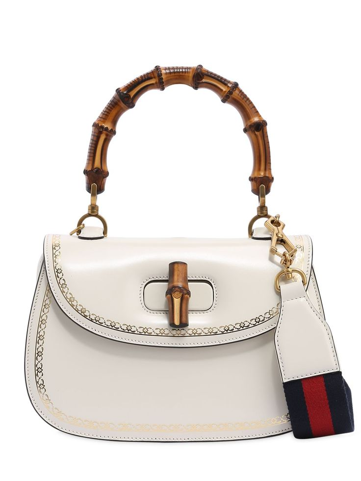 GUCCI BAMBOO & LEATHER TOP HANDLE BAG. #gucci #bags #shoulder bags #hand bags #leather #lining #
