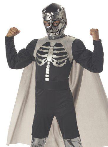 El Muerto Luchadore Kids Wrestling Costume (Black;Medium)