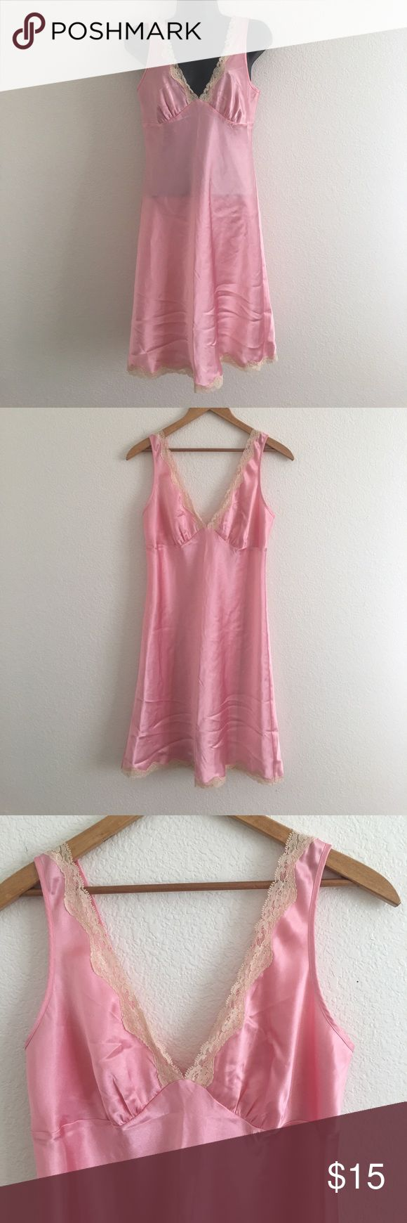 Victoria Secret Pink Satin Nightgown / Slip Victoria Secret Preowned Pink Satin Polyester Nightgown, slip or Lingerie. Size Small. Cream Lace Trim on front. 37 inches long. Victoria's Secret Intimates & Sleepwear Chemises & Slips