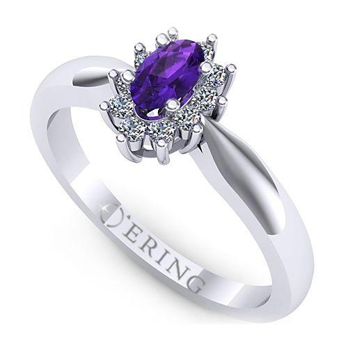 Inel logodna L39AAM inel cu ametist si diamante