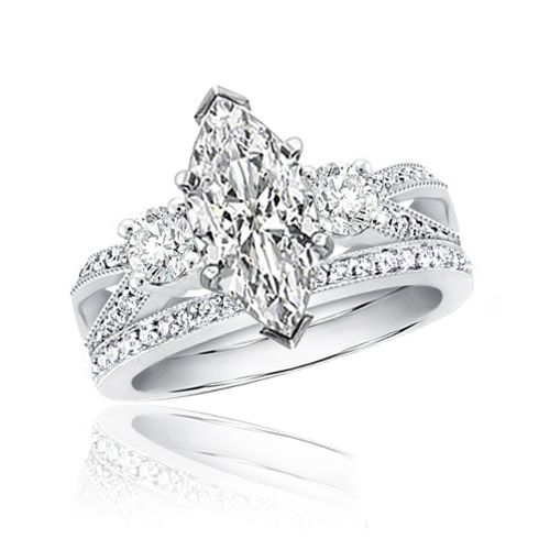 Details about Diamond Bridal Wedding Ring Set 2.15ctw Marquise 14K ...