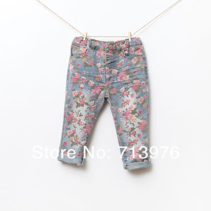 Оформление! Маленькая девочка розы печать хлопок джинсы свободного покроя джинсовые брюки 1 6 лет купить на AliExpress