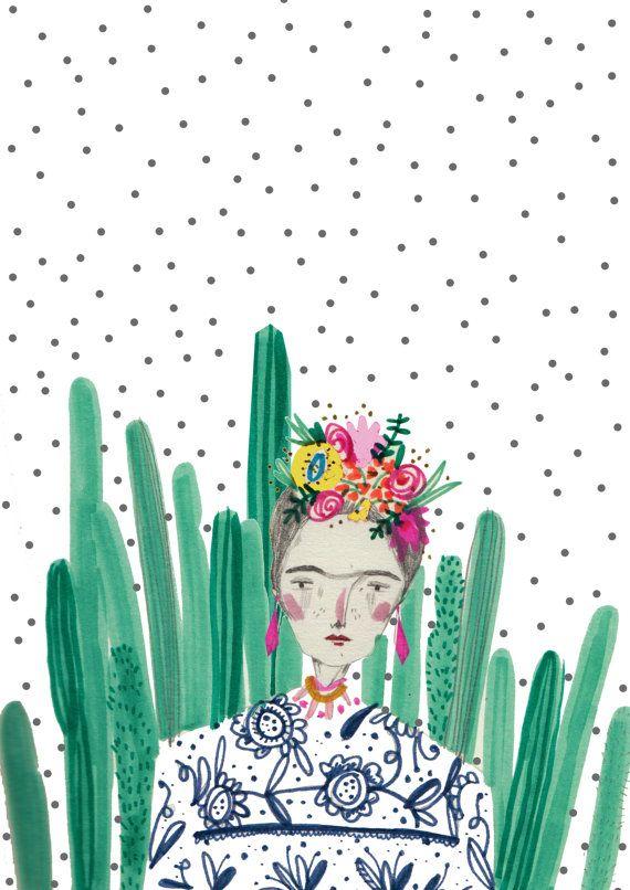 Frida kahlo.Cactus Cacti Illustration by Amyislaillustration