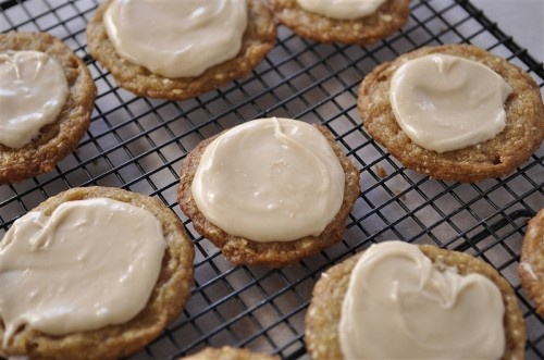 Almond toffee cookies with browned butter icing...browned butter always adds awesome flavor...