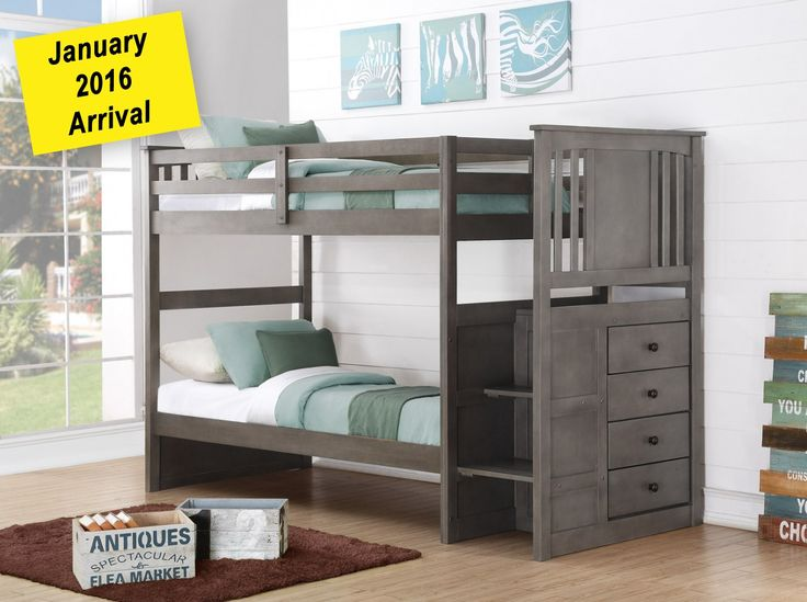 solid wood gray staircase bunk bed in houston - Bed Frames Houston