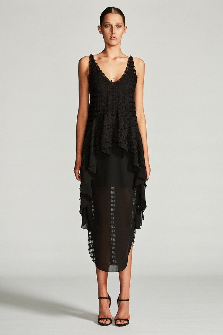 Shona Joy - Venus Frill Midi Dress Black