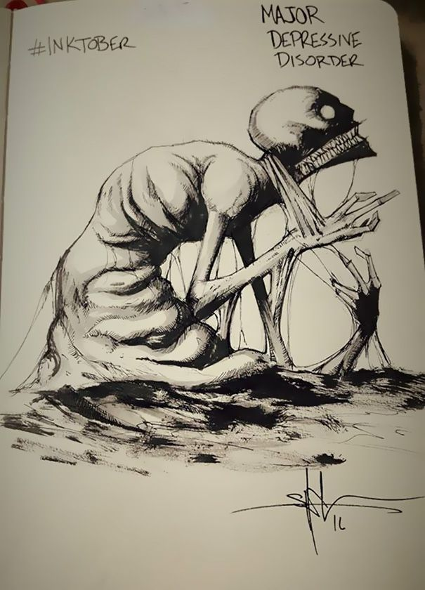 enfermedades mentales ilustradas por Shawn Coss durate el inktober 2016 3