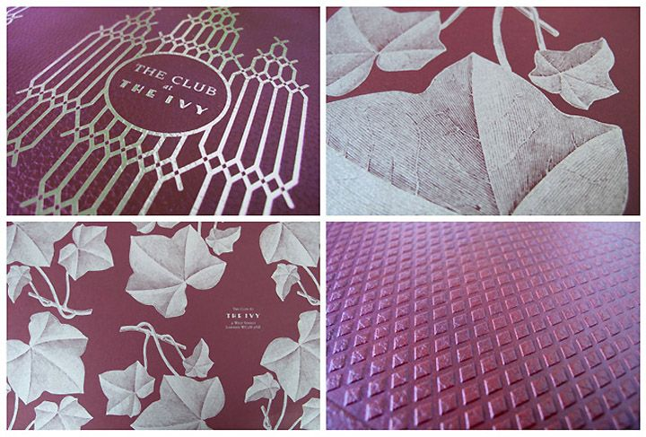 The Ivy menu by United Creatives  Art Deco inspired