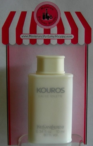 "Vintage miniature perfume bottle of ""KOUROS"" by Yves Saint Laurent.  In Greek, ""Kouros""  translates ""Male Youth"" and is also often attributed to Apollo. Bottle design inspired by the classical columns of Greece."