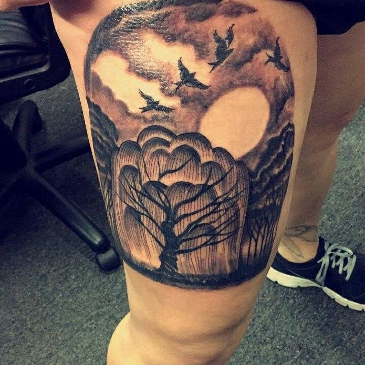 My Willow tree thigh tattoo. Took about 3 hours but it was worth it.