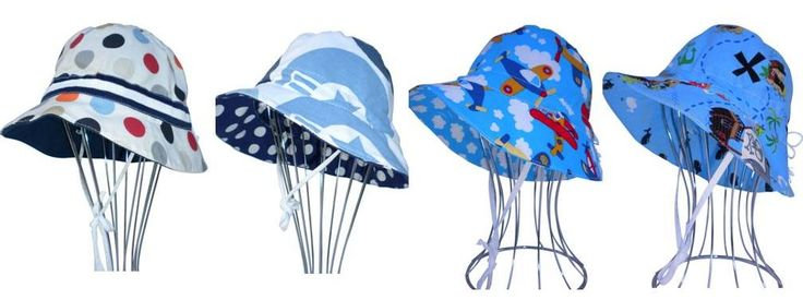 Reversible Sun Hats for boys, sizes from Newborn to 10yrs