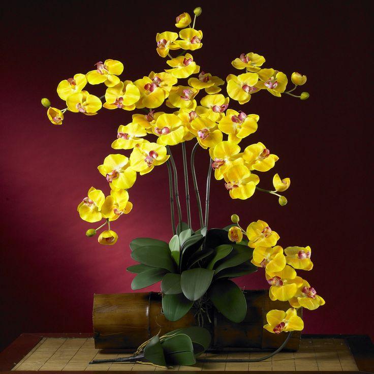 Phalaenopsis Silk Orchid Flower w/Leaves 6 Stems)