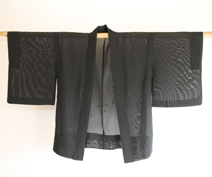Filmy Black Japanese Summer Kimono Vintage Jacket Haori, Sakura Robe, Coverup, Boho Outfit, Festival Wear, Costume, Gifts Under 50, For Her by CJSTonbo on Etsy