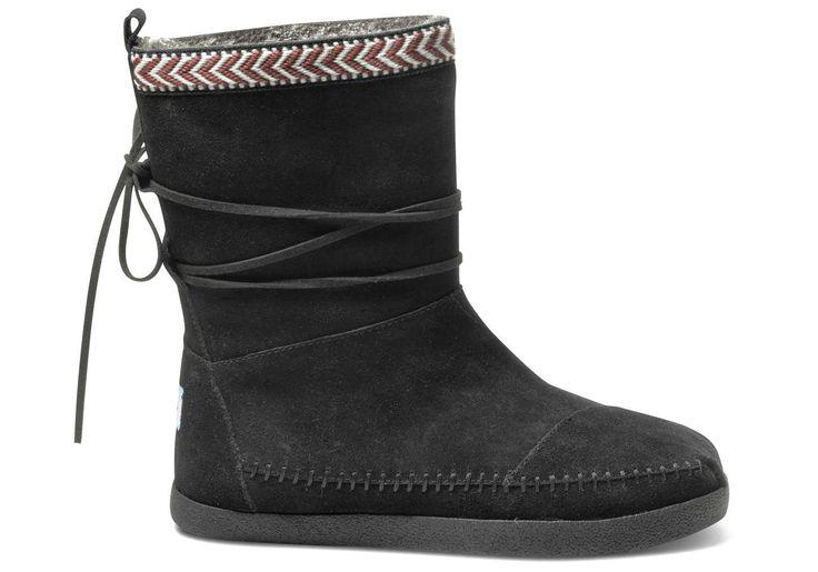Black Suede Trim Women's Nepal Boots