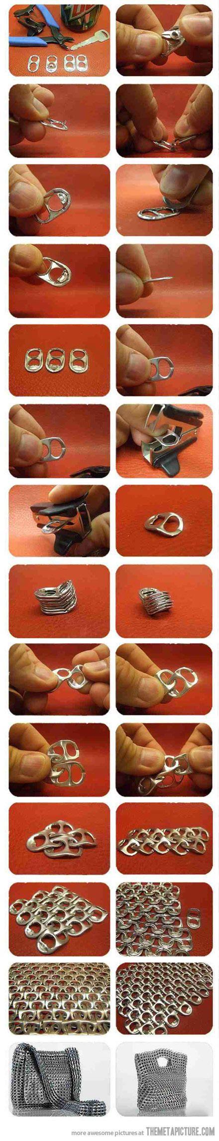 Como hacer un bolso con anillas de latas de refresco