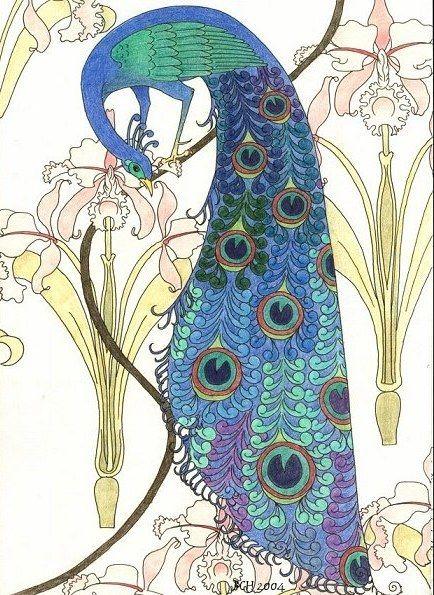 Peacocks in Irises by art-nouveau-club.deviantart.com on @DeviantArt