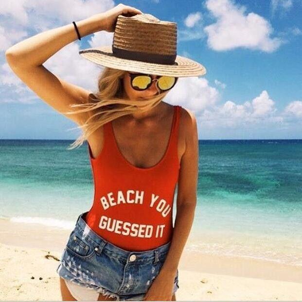 Fashion Letter Print Beach One Piece Swimsuit Swimwear