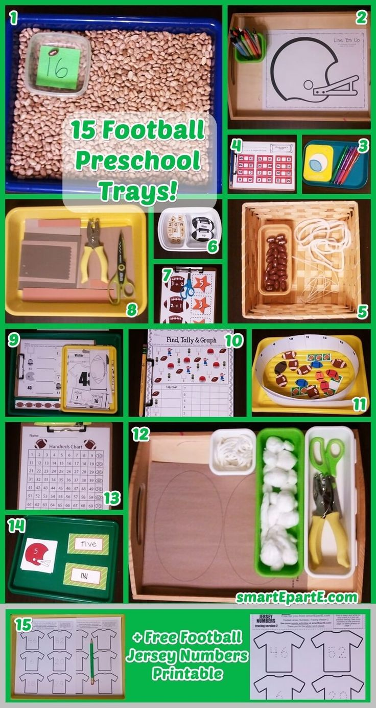 Get ready to play with our ideas for 15 Preschool Trays! Includes links to great free printables, including one of our own, and other frugal sports preschool plans.