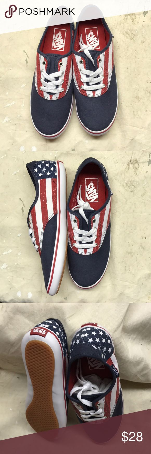 Women's Vans lo pro VANS SHOES  Huntley lo profile Stars & stripes red, white, blue Women's size 7 or men's size 5.5 New never worn, used as showroom items.  Items are as is, no tags, no box, shipping to continental US only.  Thank you and have a great day! Vans Shoes Sneakers